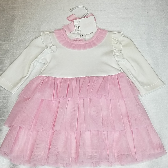 Mud Pie Other - Mud pie 0 to 6 months pink and white dress